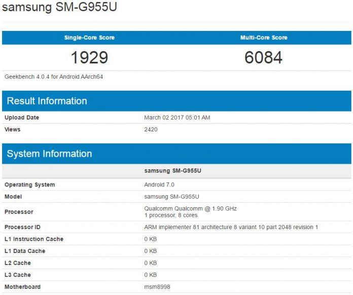 ظاهر شدن گلکسی S8 Plus در یک بنچمارک با اسنپدراگون 835