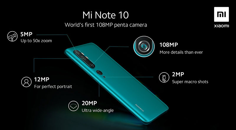 از پنج دوربین Mi Note 10، یکی 108 مگاپیکسلیست