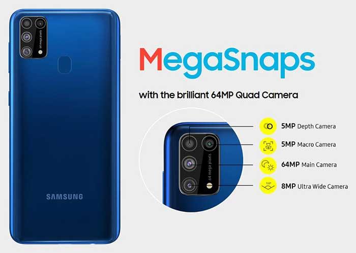 سامسونگ Galaxy M31 با باتری 6,000mAh و دوربین 64MP
