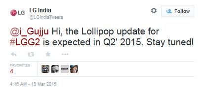 ال جی G2 - آپدیت اندروید 5.1 برای LG G2 تا سه ماه دیگر