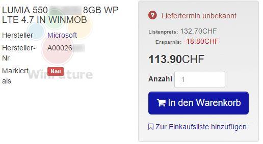 ارائه Lumia 550 با 117 دلار و قابلیت LTE؟