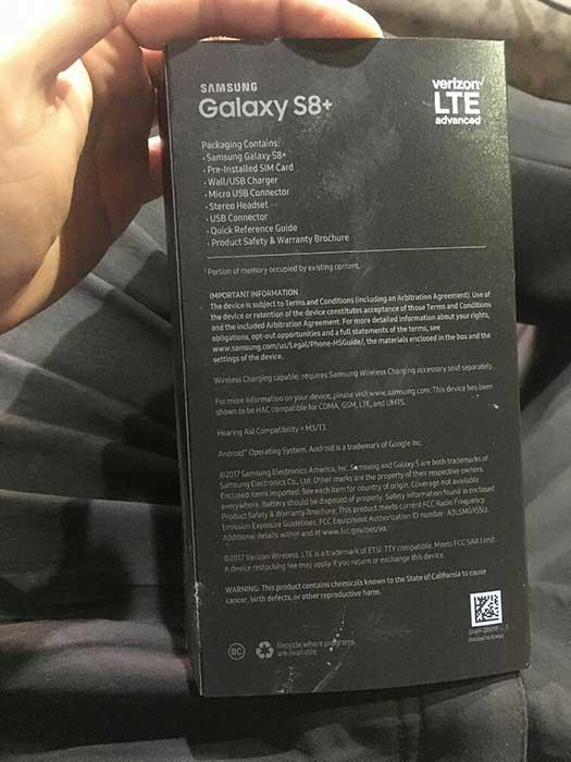 samsung galaxy s8 plus retail box