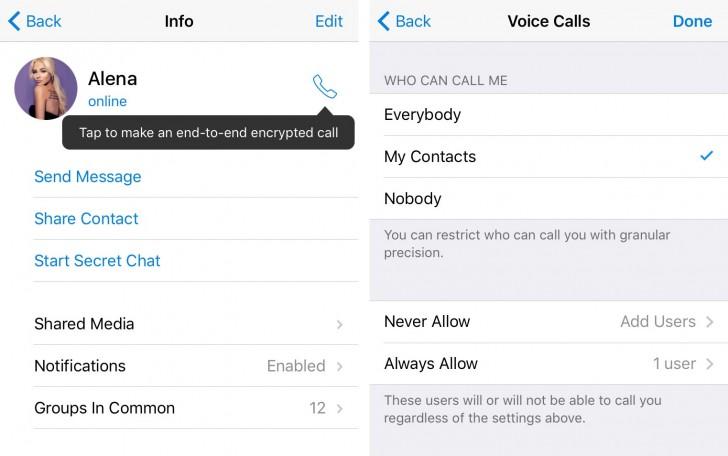 ارائه قابلیت تماس صوتی با تلگرام با امکان انتخاب کیفیت تماس
