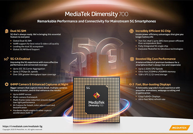 Dimensity 700 – چیپست 7 نانومتری 5G مدیاتک