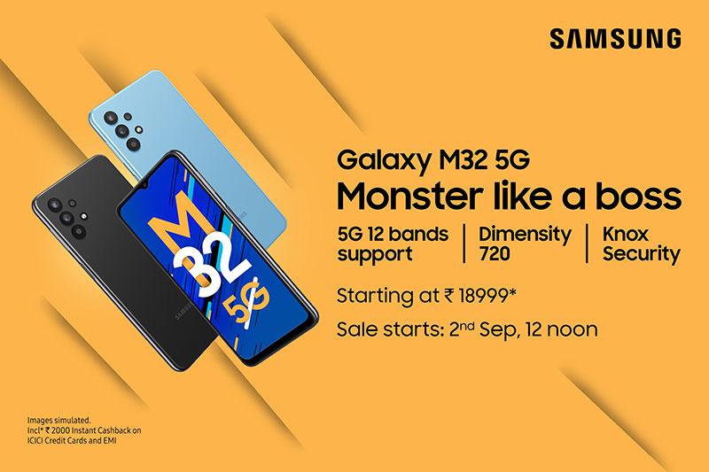 سامسونگ گلکسی M32 5G با پردازنده Dimensity 720